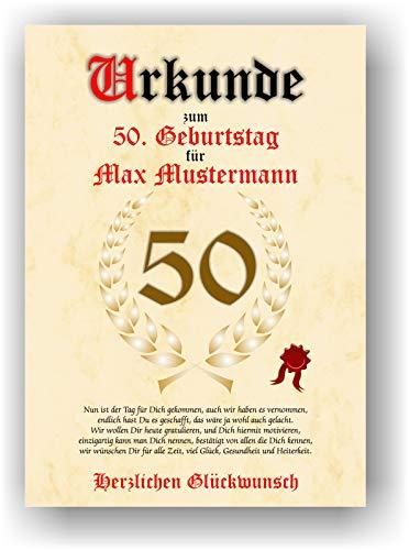 Urkunde zum 50. Geburtstag - Glückwunsch Geschenkurkunde personalisiertes Geschenk mit Name Gedicht und Spruch Karte Präsent Geschenkidee Mann Frau DIN A4