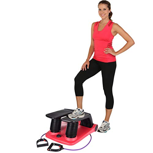 Fitness Stair Air Stepper Household Mute Mini Fitness Stepper Exercise Equipment Indoor Multi-Function Legs Fitness Step Pedal Machines with Resistance Bands - Shipped from USA (Red)
