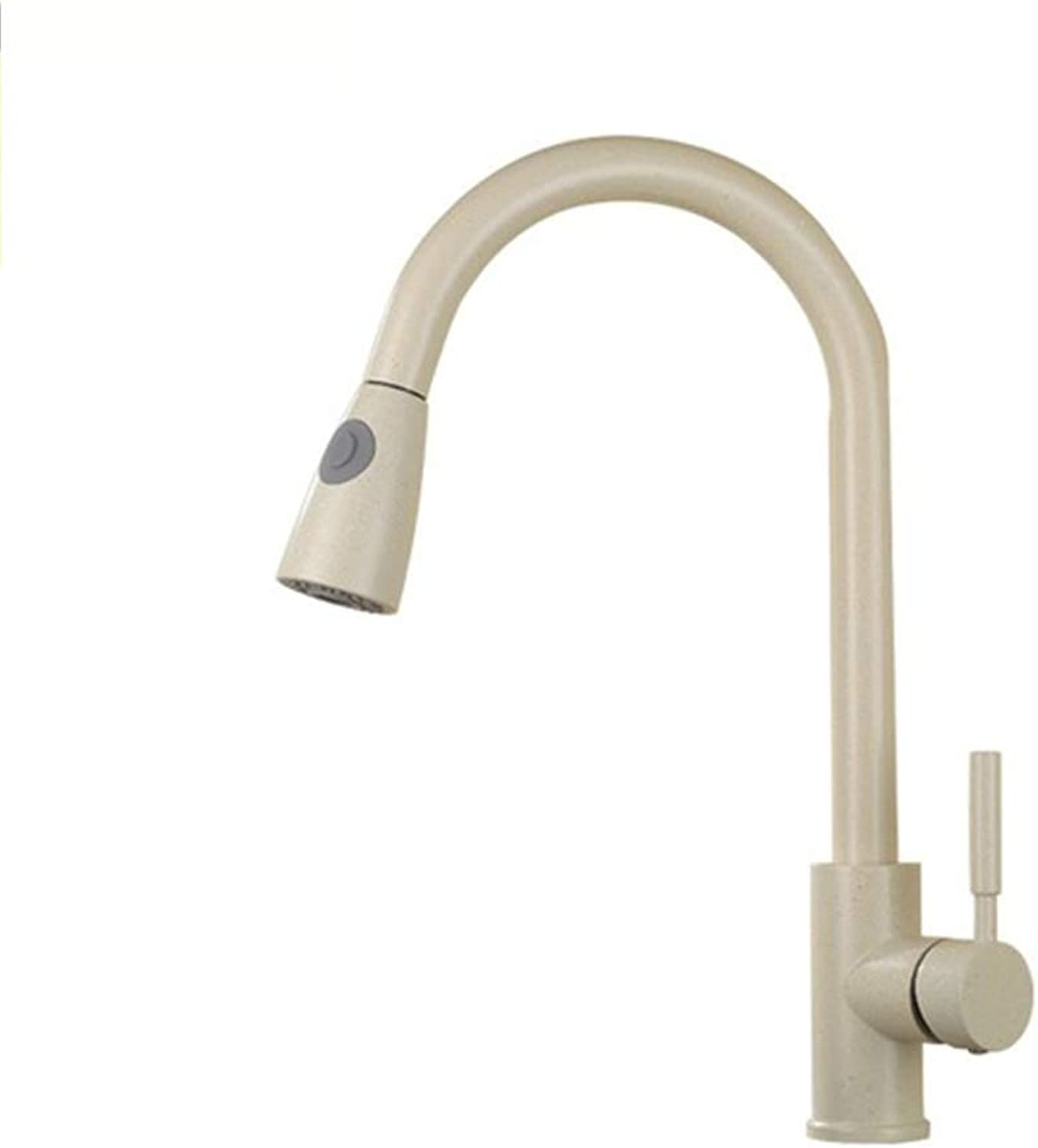 ZMHome Pull Out Stretch Kitchen Mixer Tap 360° Swivel Spout Modern Kitchen Sink Basin Mixer Tap,Oatmeal