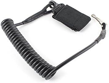 Fengh Cable de seguridad mosquetón gancho mosquetón con correa al aire libre militar táctico primavera cadena hebilla clave cadena