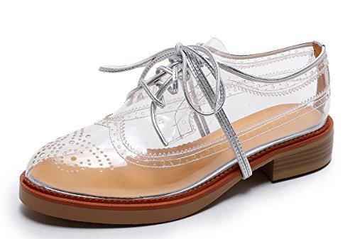 Women's Vegan Oxfords Transparent Clear Saddle WingTip Shoes