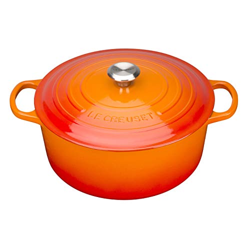 Le Creuset Enameled Cast Iron Signature Round Dutch Oven, 7.25 qt., Flame