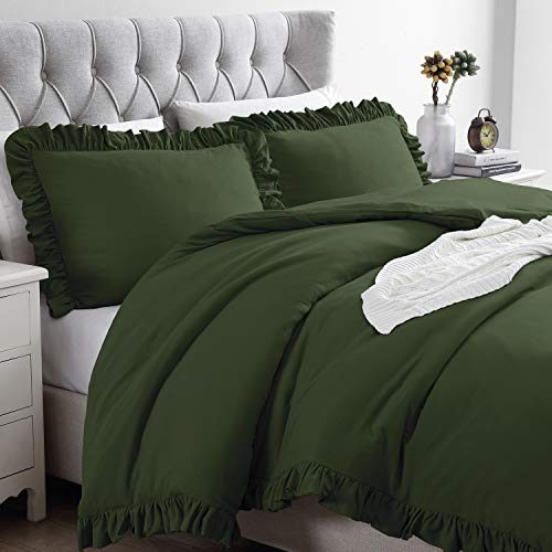 EXQ Home Olive Green Duvet Cover Set Ruffled Full/Queen Size 3 Pieces, Super Soft Vintage Bedding Down Comforter Cover, Machine Washable Breathable Microfiber Polyester Duvet Cover