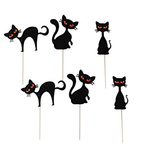 PRETYZOOM 12 Stück Halloween Cupcake Picks Katze Kuchen Topper Papier Cupcake Topper Schwarze Katze Design für Halloween Party Geburtstagstorte Lieferungen