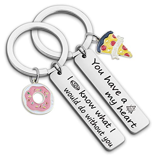 Couple Keychain Set of 2 You Have a Pizza My Heart Pizza Donut Keychain Funny Cute Jewelry for Food Lover Anniversary Gift(donut pizza heart KR)