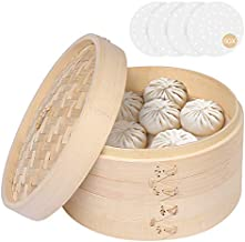 Bamboo Steamer 8 Inch, Dumpling Steamer Basket - Two Tier Baskets - Bun Bao Steamer, Dim Sum Steamer with Lid & 50 Pcs Steamer Liners, Chinese Steamer Bamboo For Cooking Rice, Vegetables, Meat & Fish