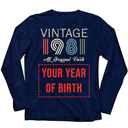 lepni.me Camiseta de Manga Larga para Hombre Personalizado con Cualquier Año Regalo Vintage Todas Las Piezas Originales (XX-Large Azul Multicolor)