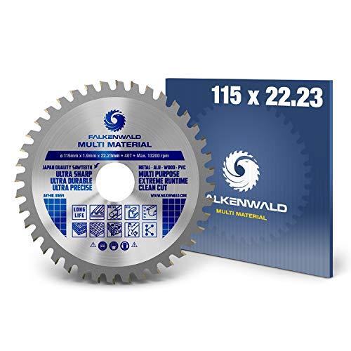 FALKENWALD® Hoja de sierra para amoladora angular 115 x 22,23 mm – Ideal para madera, aluminio y plásticos (Multi) – Hoja de sierra para Flex