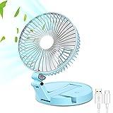 Ai-fangog Desk Fan, USB Fan with night light, Rotatable Portable Mini Cooling Desktop Fan, Wall-Mounted Fan, for Outdoor Home Office Bedroom.(Blue)
