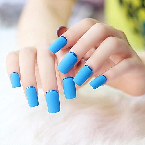 Faux Ongles 24Pcs/Ensemble Oeil De Chat Bleu Profond Blanc Pré-Conception Courte Tête Ronde Pleine Couverture Bouts D'Ongle Fnished Nail Art
