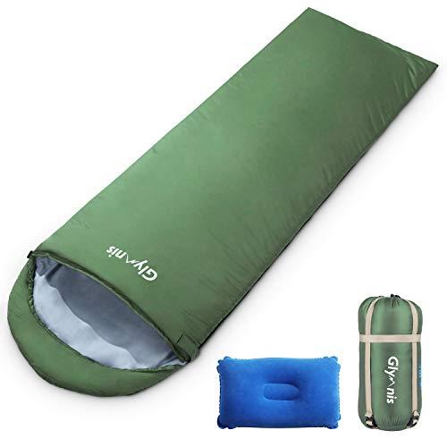 Glymnis Schlafsack Deckenschlafsack Ultraleicht klein warm Sommerschlafsack 220x75 cm für Outdoor Camping Kapuze Wandern mit aufblasbarem Kopfkissen und Kompressionsbeutel (Grün)