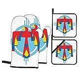 Juego de 4 manoplas para horno y soportes para ollas,símbolo misterioso nativo americano de...