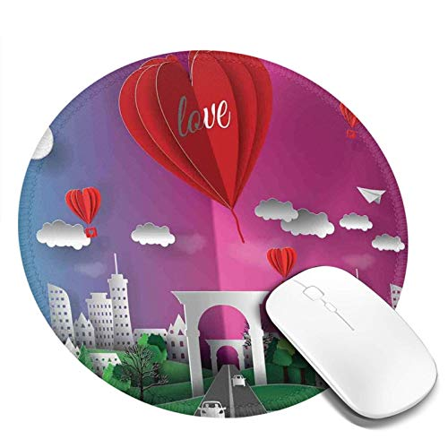 Non-Slip Rubber Base Round Mouse Pad,3D Style Multi Layer Effect Illustration Print of City Gate and Hot Air Balloons,for Office Computer Home