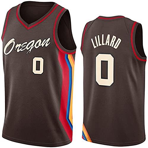 WEIZI Jersey De Baloncesto - Portland Trail Blazers # 0 Damian Lillard Mess T-Shirt Chaleco De Baloncesto Transpirable, Bordado Swingman Jersey,Negro,L