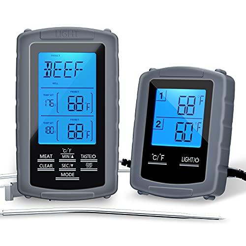 Estink Termometro Cucina, Termometro Carne Barbecue Professionale Sonda, 2 Sonda con Display LCD Blacklit e Timer e Allarme Temperatura, con Istruzioni Italiane