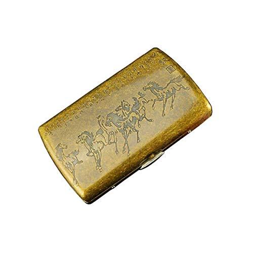 HYY-YY Caso de Cigarrillos, Cobre Paquete de 12 Cigarrillos Caja, de Acero del Metal del Cigarrillo de Clip Box, Ocho Caballos, Anti-presión (Color: Oro)