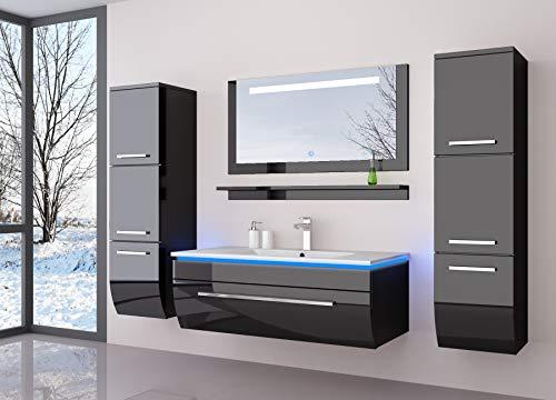 HOMELINE Komplett 70 cm Schwarz Badmöbelset Vormontiert Badezimmermöbel Waschbeckenschrank mit Waschtisch Spiegel 2 Hochschränke mit LED Hochglanz lackiert Homeline1