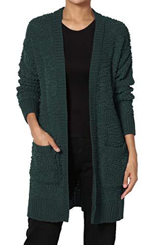 TheMogan Women's Boyfriend Pocket Popcorn Knit Sweater Drape Cardigan Hunter Green S