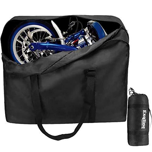 Exqline Fahrrad Transporttasche, 1680D Oxford Klapprad Tasche Große Tragetasche Fahrrad Transport für 14-20 Zoll Faltrad Drinnen und Draußen, 82 x 67 x 32cm