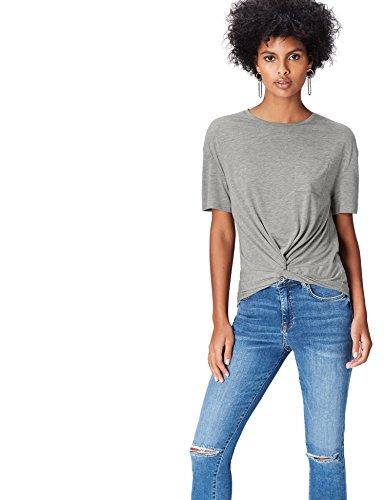 Amazon-Marke: find. Damen Verkürztes T-Shirt mit rundem Ausschnitt, Grau (Grey), 36, Label: S