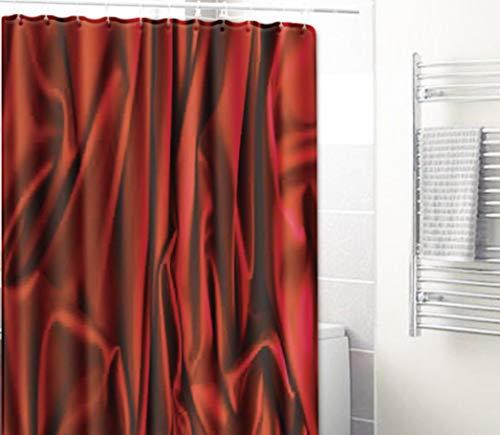 GjbCDWGLA Weinroter Doodle-Duschvorhang Schimmelresistenter Waschbarer Badvorhang Aus Polyester, Extra Langer Badvorhang Mit Haken 180 * 180 cm