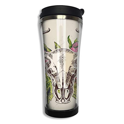 Taza de café de acero inoxidable con aislamiento al vacío, diseño floral, calaveras de toro y flores, con tapa de aislamiento, a prueba de fugas, taza portátil para viajes, deportes, camping, trabajo
