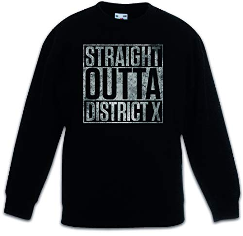Urban Backwoods Straight Outta District X Kinderen Jongens Meisjes Sweatshirt Pullover Trui Schwarz