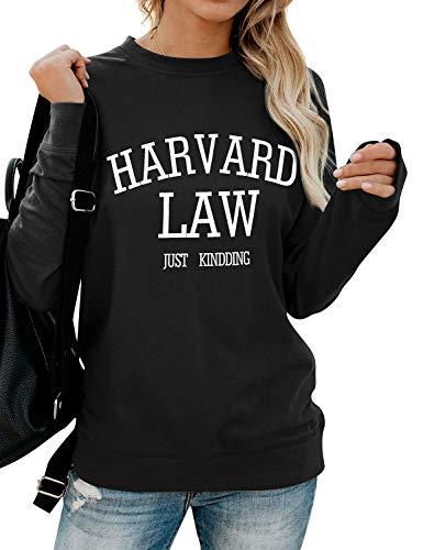 FromNlife Damen Frauen Harvard Law Just Kidding Brief drucken Sweatshirt mit Rundhalsausschnitt Casual Pullover Tops Bluse Shirts