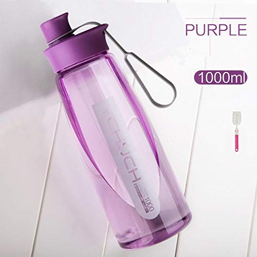 xuanyanhu 1L Filtro Taza Deportiva al Aire Libre Fitness equitación Senderismo Botella de Agua portátil hervidor de plástico Transparente a Prueba de Fugas