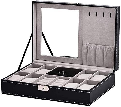 Caja de exhibición de reloj de almacenamiento – 8 rejillas de madera para relojes de pulsera de hombres y mujeres, bandeja de cuero sintético caja de regalo con cerradura y espejo negro