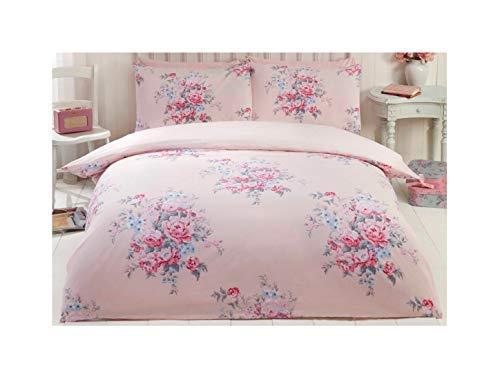 Floral roses Fleurs Pois Rose Coton brossé Taille super king size (Crème uni Drap-housse – 180 x 200 cm + 25) Uni Crème Taies d'oreiller Parure de lit de 6 pièces