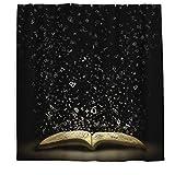 Buchstabe Duschvorhang mit Anti-Schimmel-Effekt, Waschbar Wasserdicht Stoff Duschvorhang Shower Curtain für Badezimmer Schwarz 200x180cm