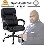 Big & Tall Heavy Duty Executive Chair 500 Lbs Heavyweight Rated Black PU Leather Task Rolling Swivel...