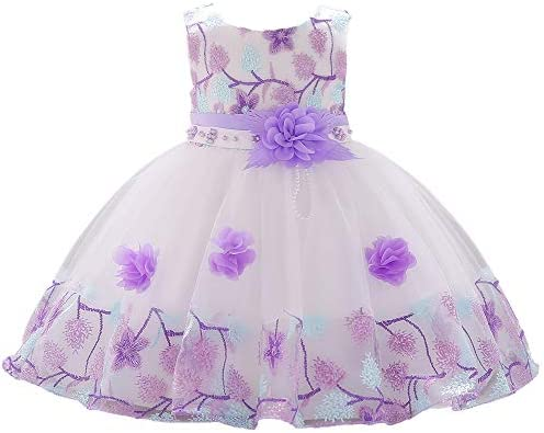3 4T Purple Cute Prom Bridesmaid Kids Dresses Embroidery 3D Flower Beaded Special Occasion Easter product image
