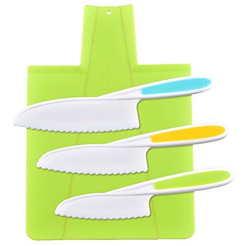 feihao cuchillos de cocina para niños,Juego de cuchillos de cocina, cuchillos de cocina seguros para niños, cuchillos de nailon para chef(4 unidades)