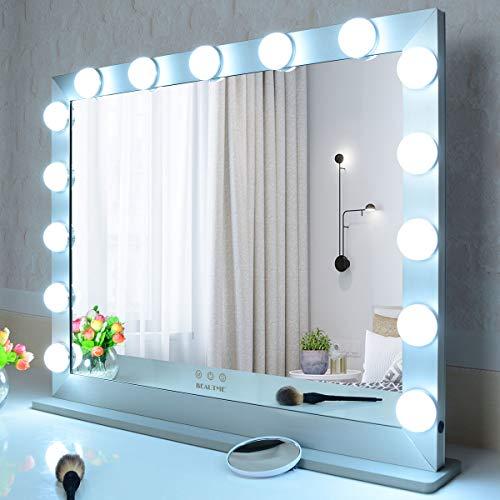 WONSTART Großer Schminkspiegel Hollywood beleuchteter Spiegel mit 15 LEDs, Wandspiegel oder Spiegel für Schminktisch (Silber)