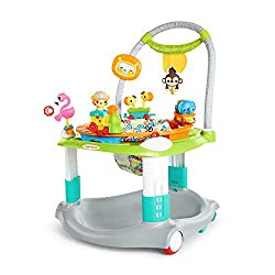 Giggles in all directions with 360 degrees of FUN! Rolls easily from room to room without interrupting baby's playtime Seat spins 360° for full access to toys Train toy detaches and includes lights and melodies Moves on wheels! Locks safe during play...