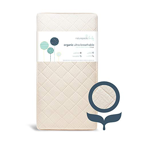 Naturepedic Organic Crib Mattress - 2-Stage - Breathable - Luxurious Quilted Removable Cover - Machine Washable - fits Standard Baby and Toddler Bed