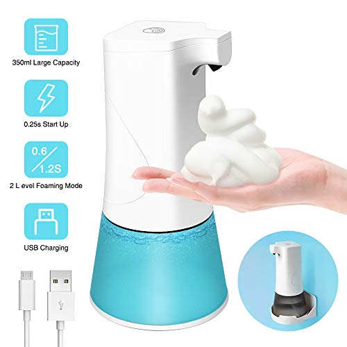 NEKAN Seifenspender Automatisch, 350ml Automatischer Schaumseifenspender Sensor Schäumende Seifenspender USB-Aufladung mit Sensor Infrarot für Bad,Küche und WC