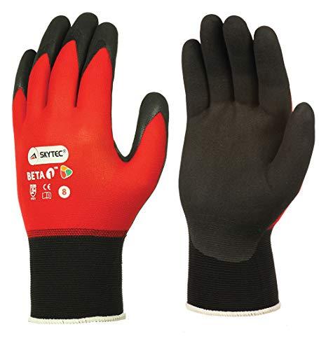 Skytec Beta 1 Paar rote Nitril-Handschuhe, superleicht, Arbeitskleidung, Sicherheit, ultradünn, Größen 7–10 erhältlich (8 Medium)
