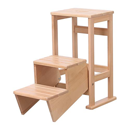 ZXL Wooden Step Stools for Adult, 3 Tier Folding Utility Stool for Kitchen/Bedroom/Living Room (Color : Wood Color)