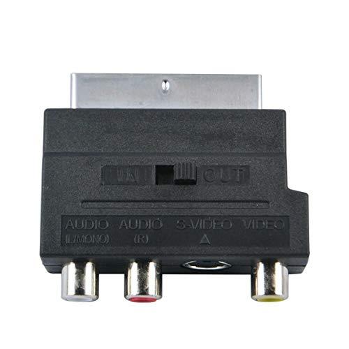 KoelrMsd Adaptador SCART Adaptador SCART Bloque AV a 3 RCA Phono S-Video Compuesto con Interruptor de Entrada / Salida Adaptador Scart a SVHS para grabadora de DVD de vídeo