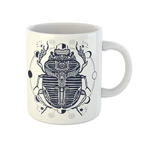 Awowee Coffee Mug Egyptian Scarab Symbol of Pharaoh Gods Ra Sun Tattoo 11 Oz Ceramic Tea Cup Mugs Best Gift Or Souvenir For Family Friends Coworkers