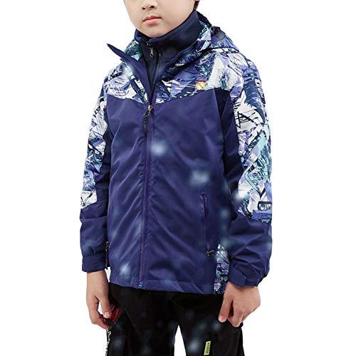 DaiHan Chaqueta de Softshell para Unisex Niños Niñas Gabardina Abrigo con Capucha con Forro Polar Falso 3 En 1 Resistente Al Viento