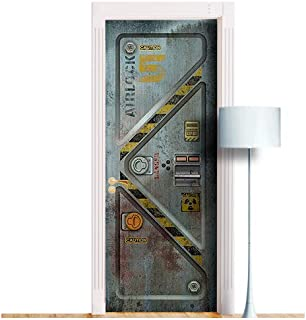 Sci-Fi Bunker Armored Metal Door. ONE Piece Sticky Mural, Decole, Skin, Wrap, Decal, Cover, Poster for Door, Wall or Fridge (30