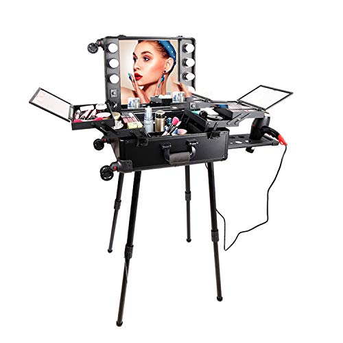 Makeup Light Cosmetic Case, LED Dimming Large Mirror,2 Kinds of Light Sourcecan Be Selected Bracket Detachable,Universal Wheel Heel Makeup Kit Trolley,A