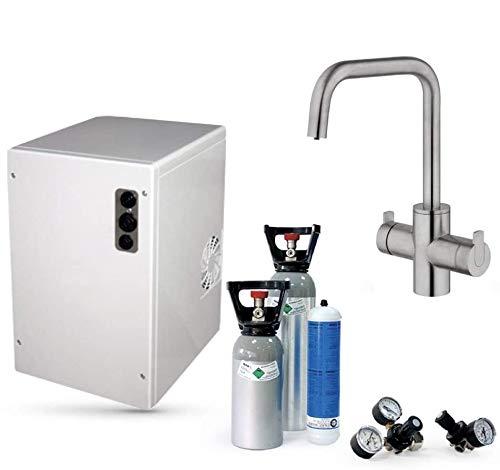 SPRUDELUX Untertisch-Trinkwassersystem Power Soda ohne Filtereinheit inklusive 5-Wege-Armatur CUCINA ESTETICA Edelstahl massiv. Profi-Wassersprudler für den Privathaushalt. Spritziges Mineralwasser