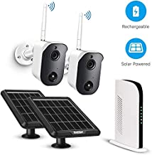 TMEZON Outdoor Wireless Home Security Camera System Battery Solar Powered Rechargeable 1080p NVR System, 2-Way Audio, Wall...