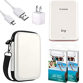 """Canon IVY Mobile Instant Mini Photo Pocket Printer through Bluetooth Portable Rose Gold Includes 2x3"""" Zink Photo Paper Sticker  100 Sheets  Protective case and USB Charging Cable with Wall Adapter"""