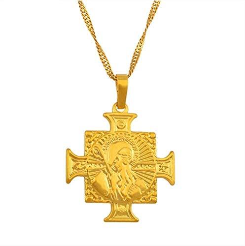 LBBYMX Co.,ltd Collar de Moda San Benito Medalla Cruz Collares Pendientes para Mujer Color Dorado Iglesia Religiosa católica Crossrs Joyería 45cm Cadena Fina